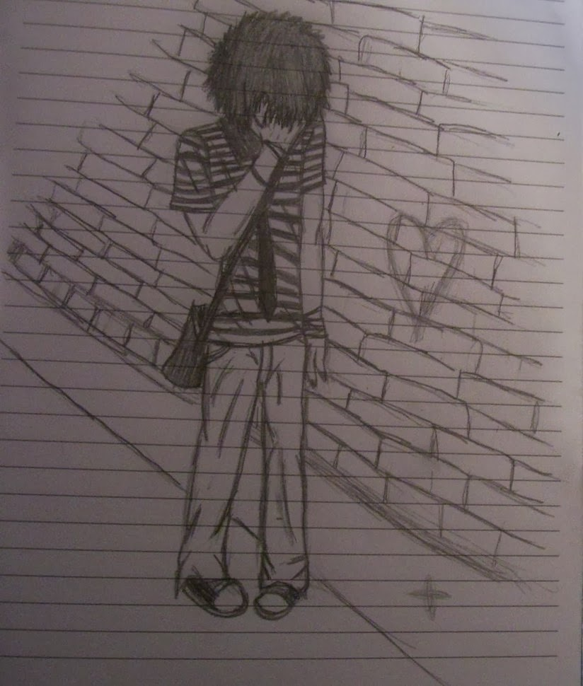 Love hurts boy emo pencil sketch wallpaper