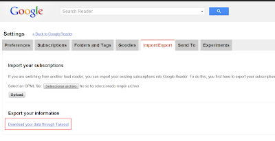 Exporting data from Google Reader