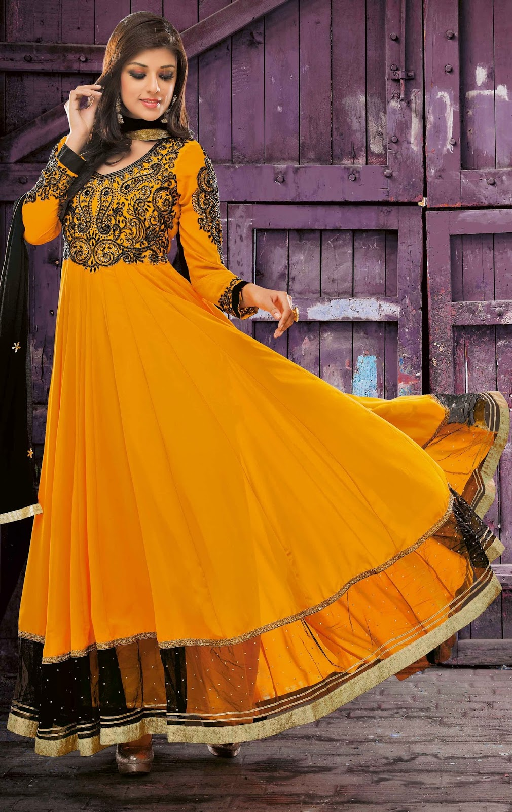 Faux Georgette Orange Designer Embroidery Anarkali Suit with Dupatta
