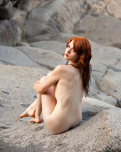 Eyes red green hair nude girl with