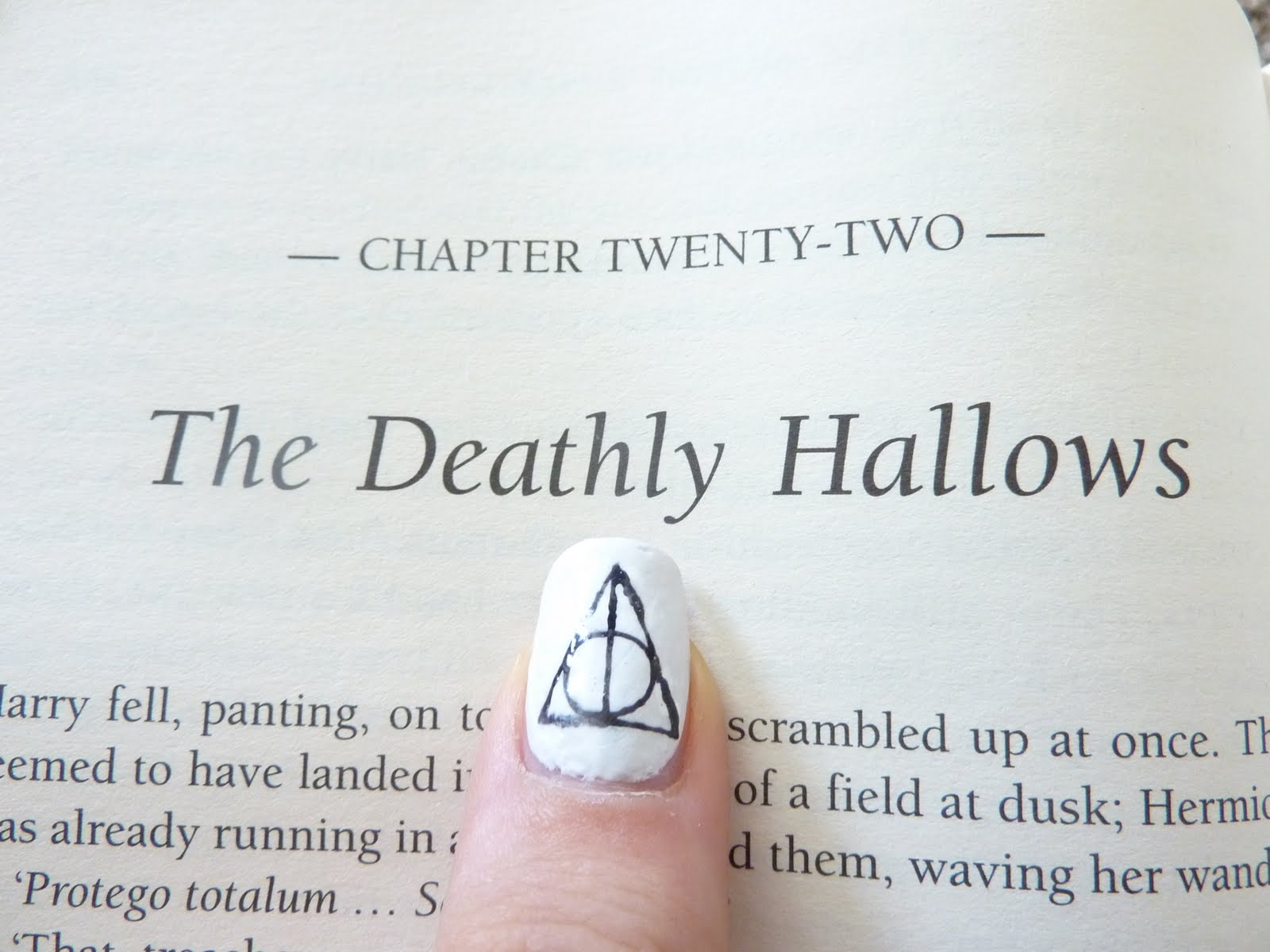 Scribbling with polish draco dormiens nunquam titillandus on my four fingers are the different hogwarts houses and on my thumb is the symbol of the deathly hallows the vertical line represents the elder wand biocorpaavc Gallery