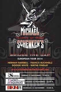 Conciertos de Michael Schenker en Barcelona, Zaragoza y Santander en noviembre