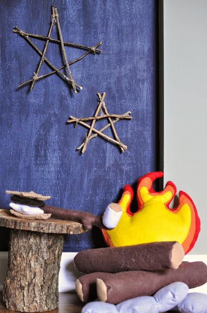 Outdoorsy, camping, boy scout nursery. Play felt Campfire.  Twig Stars.