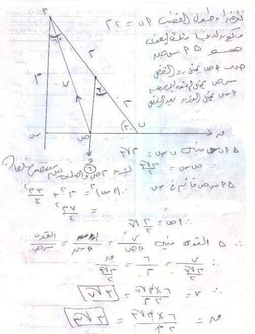 امتحان الميكانيكا والاجابة النموذجية للثانوية العامة 2012 6