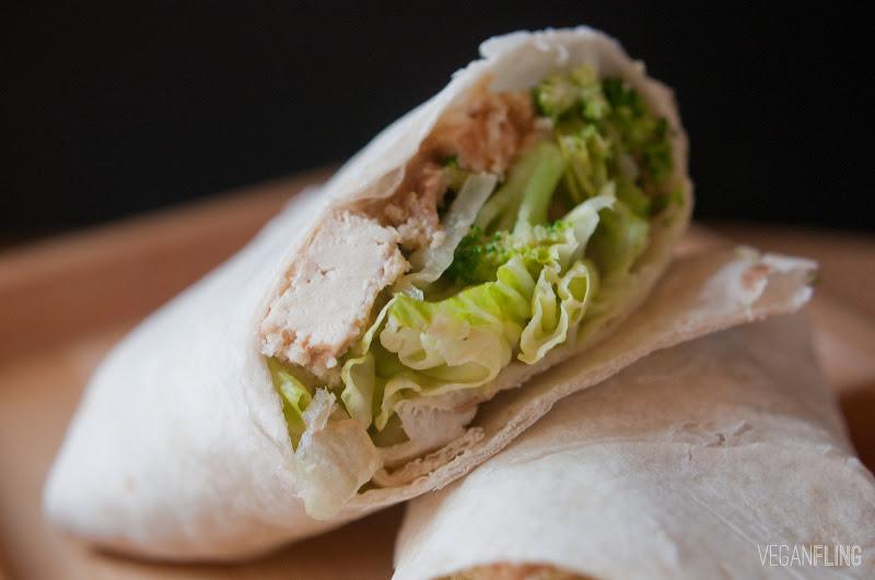 VeganFling: Caesar Salad Tofu Wraps