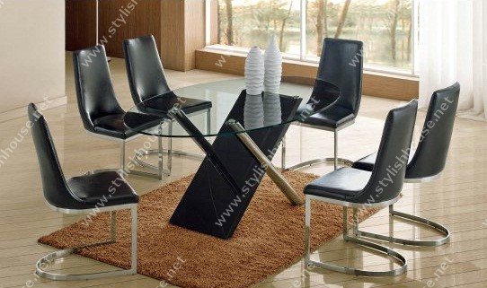 Contemporary glass table top with six stylish chairs