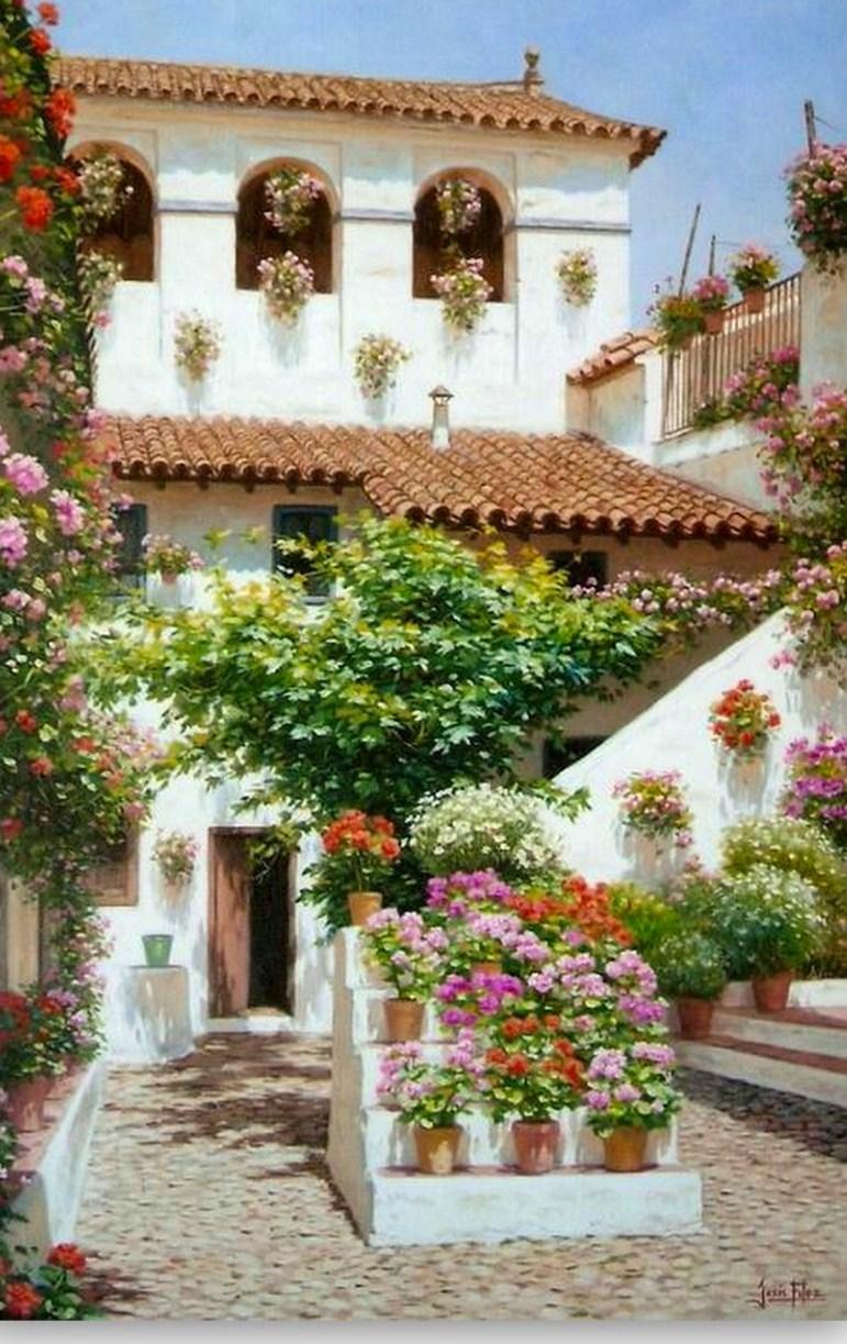 Cuadros modernos pinturas paisajes con flores - Cuadros para pintar en casa ...