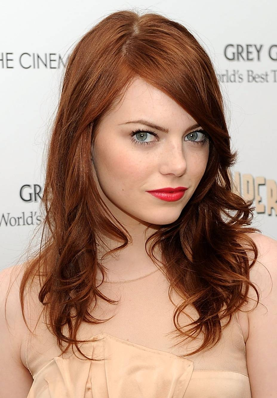 Emma Stone's red hair makes her gray-blue eyes stand out!