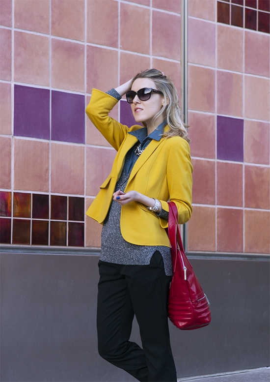 "The Wind of Inspiration Outfit of the Day  Post – ""Warm And Cool Color Combo"" (Asos Sleeveless Shirt, Club Monaco Silver Sweater, Kasper Mustard Blazer, Asos Cropped Pant, Sam Edelman Loafers, Walter By Walter Baker Handbag, Michael Kors Wilmette Sunglasses, Alfani Multi Chain Necklace Necklace, Wittnauer Chronograph Watch, American Apparel Nail Polish)"