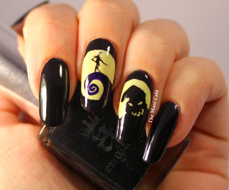 The Nightmare Before Christmas - A-England Camelot & Serum No. 5 Day Glow - The Mani Café: Halloween Nail Art - The Nightmare Before Christmas
