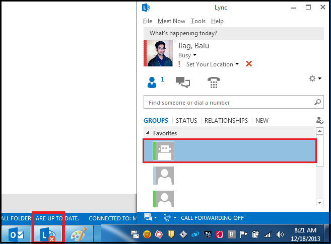 Lync Instant Message : Unable to open instant message window in lync