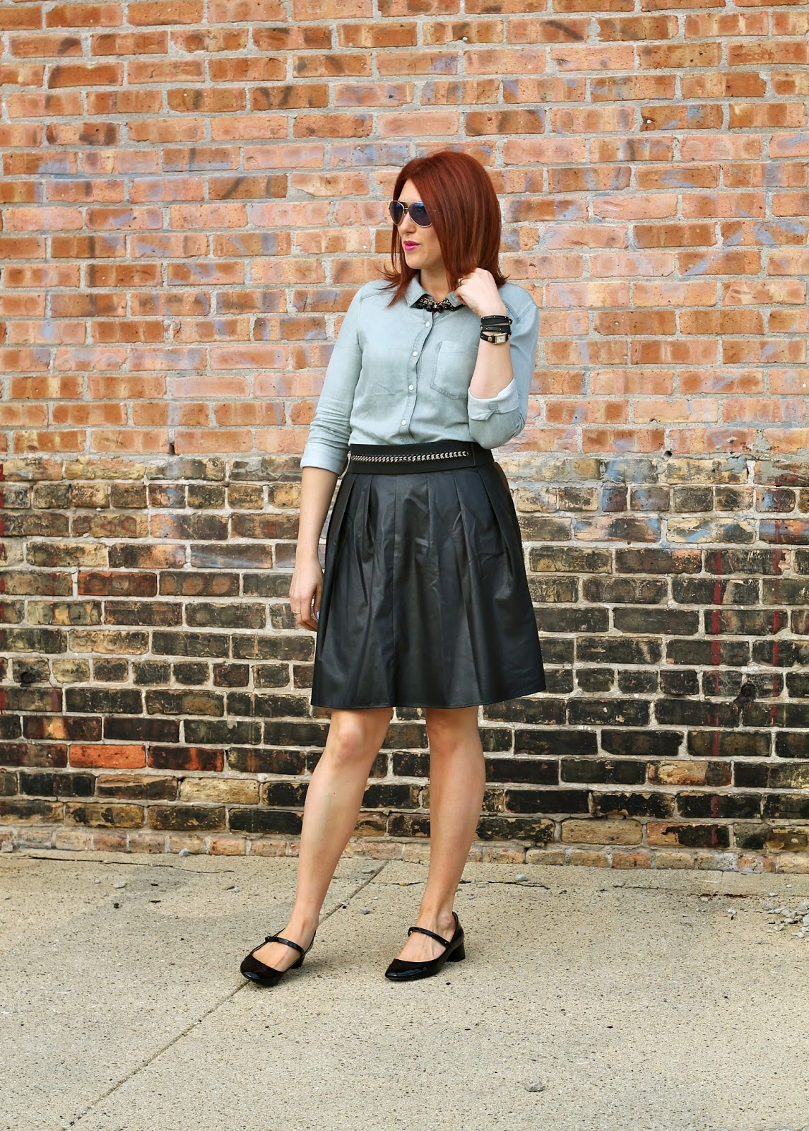 Faux, leather, pleated, skirt