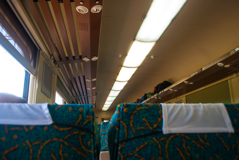 Image of train seats on a long journey