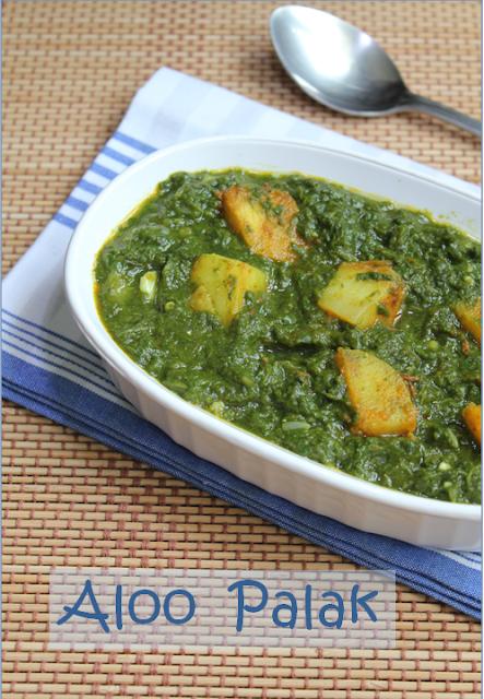Jaya's recipes: Aloo Palak/Spiced Potatoes in Spinach Puree