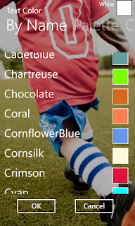 Text color - select from color name list
