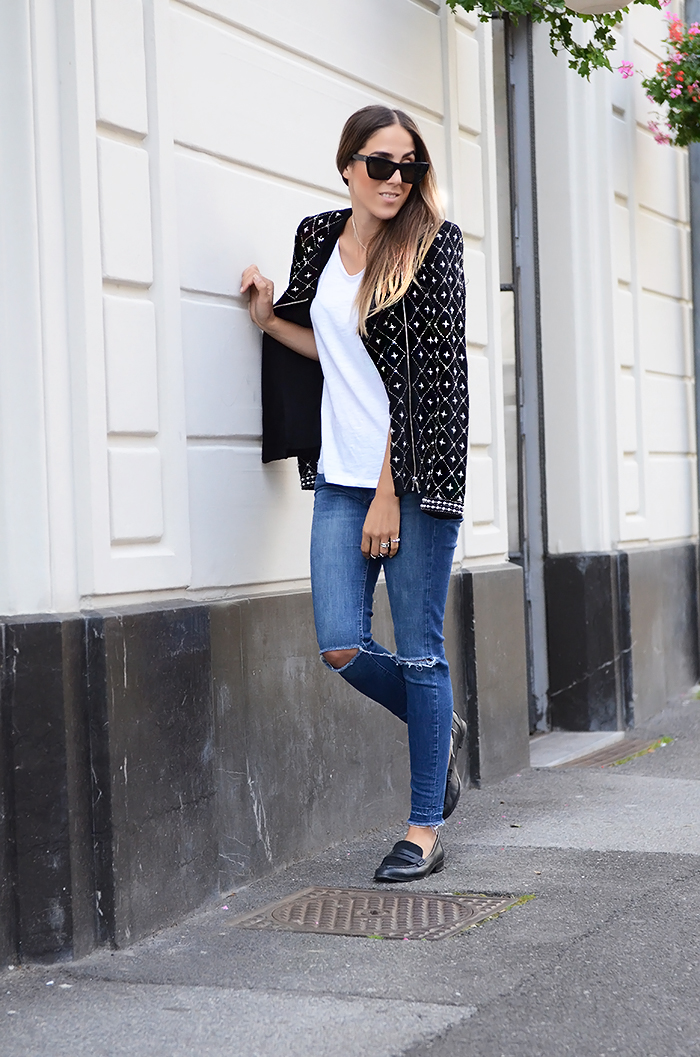 alison liaudat, blazer, blog mode suisse, casual, fashion blogger, fashion event, Jeans, packing, paris, pfw, ripped, schweiz, statement piece, t-shirt blanc, white tee,