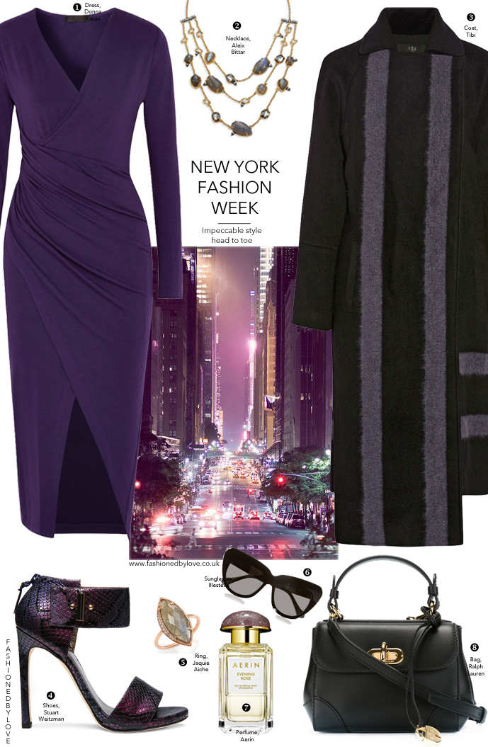 An outfit inspired by New York Fashion Week via www.fashionedbylove.co.uk british fashion blog / outfit inspiration / new york fashion week street style / elegant & chic outfit inspiration / how to wear purple / donna karan, tibi, alexis bittar, ralph lauren, stuart weitzman