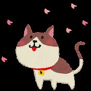 お花見のイラスト「猫」