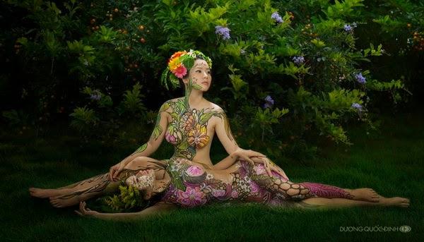 Ảnh gái xinh Body painting của Dương quốc định 2