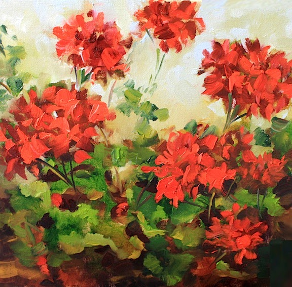 Nancy Medina Art Pieces Of Red Geraniums By Texas Flower
