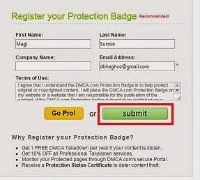 Cara Mendaftar dan Memasang DMCA di Blog