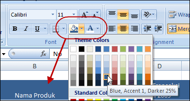 Warna pada grouping Font pada tab Home - Ribbon Excel 2007