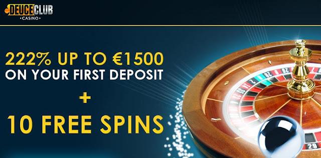 Deuce Club Casino 222% Bonus + 10 Free Spins