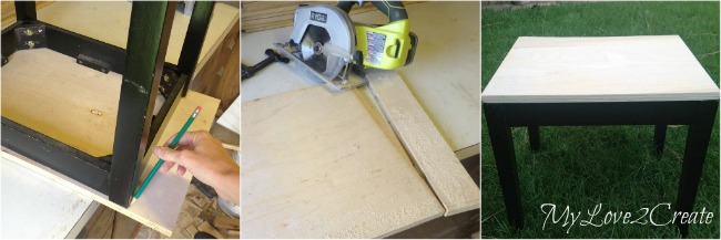 measuring and cutting plywood for top of table