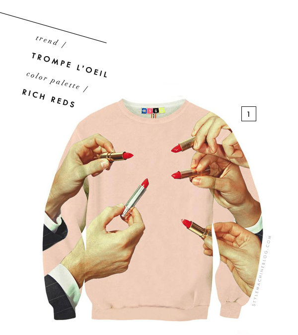 Quirky Trompe L'oeil & Reds for Fall via www.stylemachineblog.com