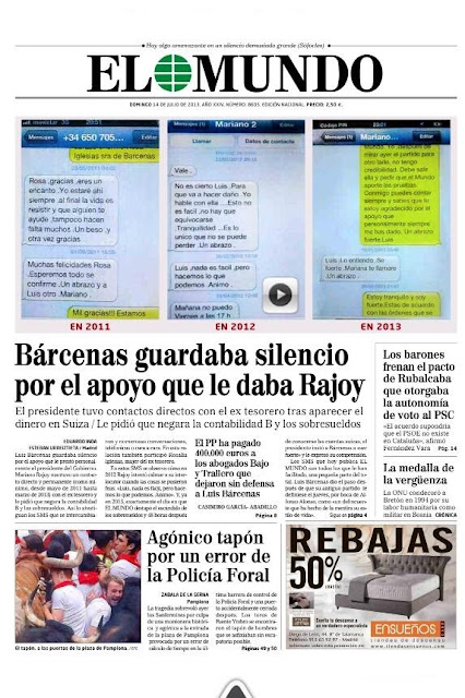 Portada de El Mundo del 14 de julio de 2013, Rajoy, Bárcenas, sms
