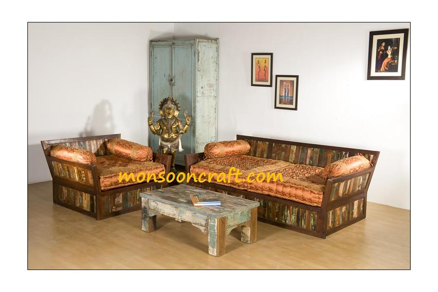 Reclaimed wood High back sofa set design made from salvaged old timber with original color patina.