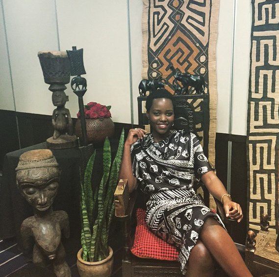 Lupita Chilling In The Middle Of An Afrocentric Decor