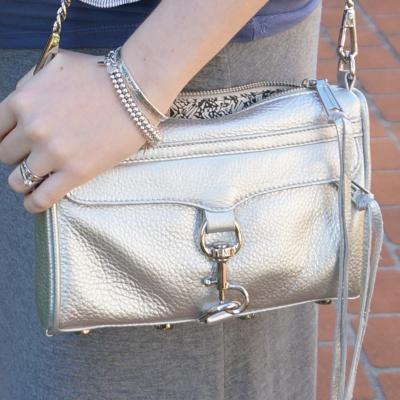 Rebecca Minkoff metallic silver mini MAC bag