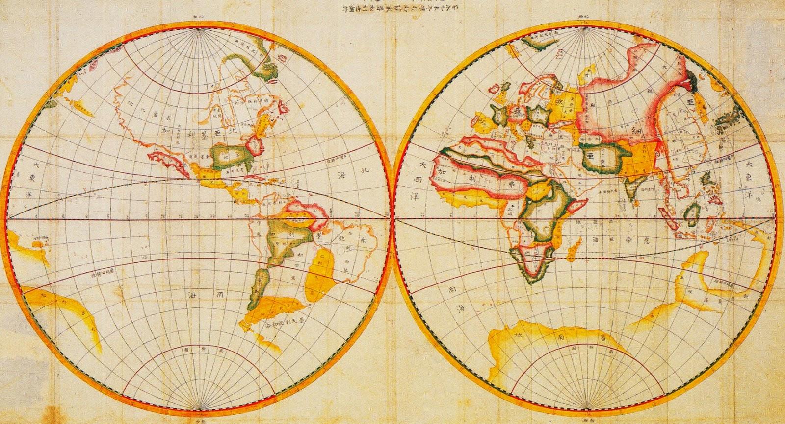 world, globe, map, japan, historical, postcard