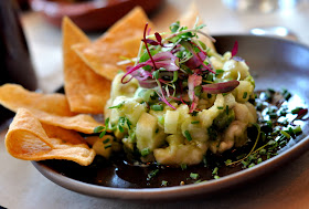 Citrus-Marinated Flounder Ceviche with Jicama, Avocado, and Housemade Tortilla Chips - Photo by Taste As You Go