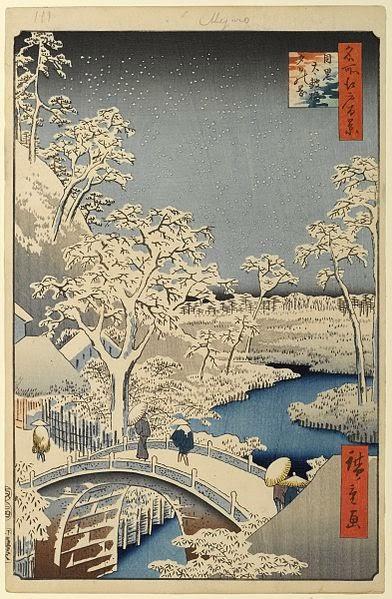 Le pont Taiko et la colline Yūshi à Meguro en hiver.  Cent Vues d'Edo, Hiroshige