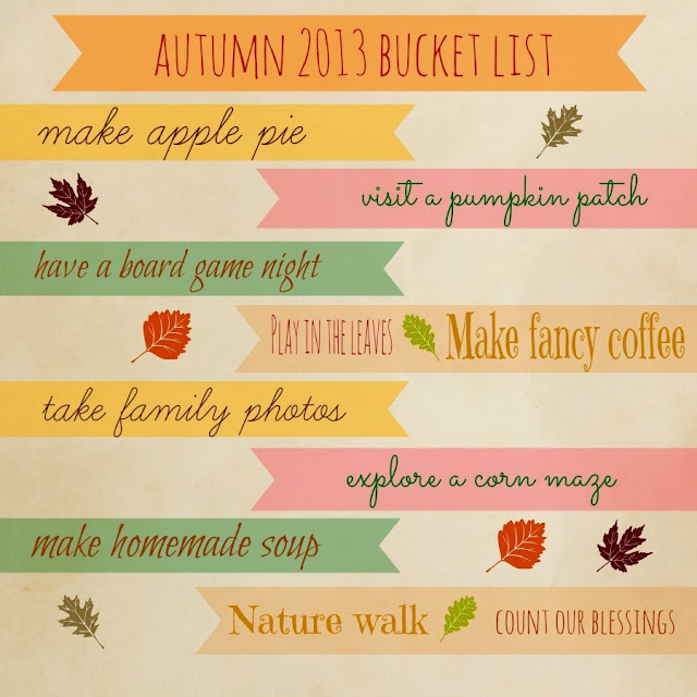 Autumn 2013 Bucket List