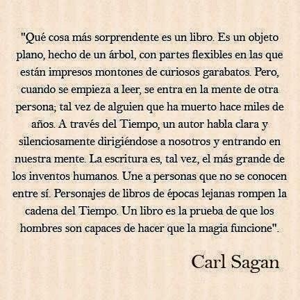 EL LIBRO, SEGÚN CARL SAGAN