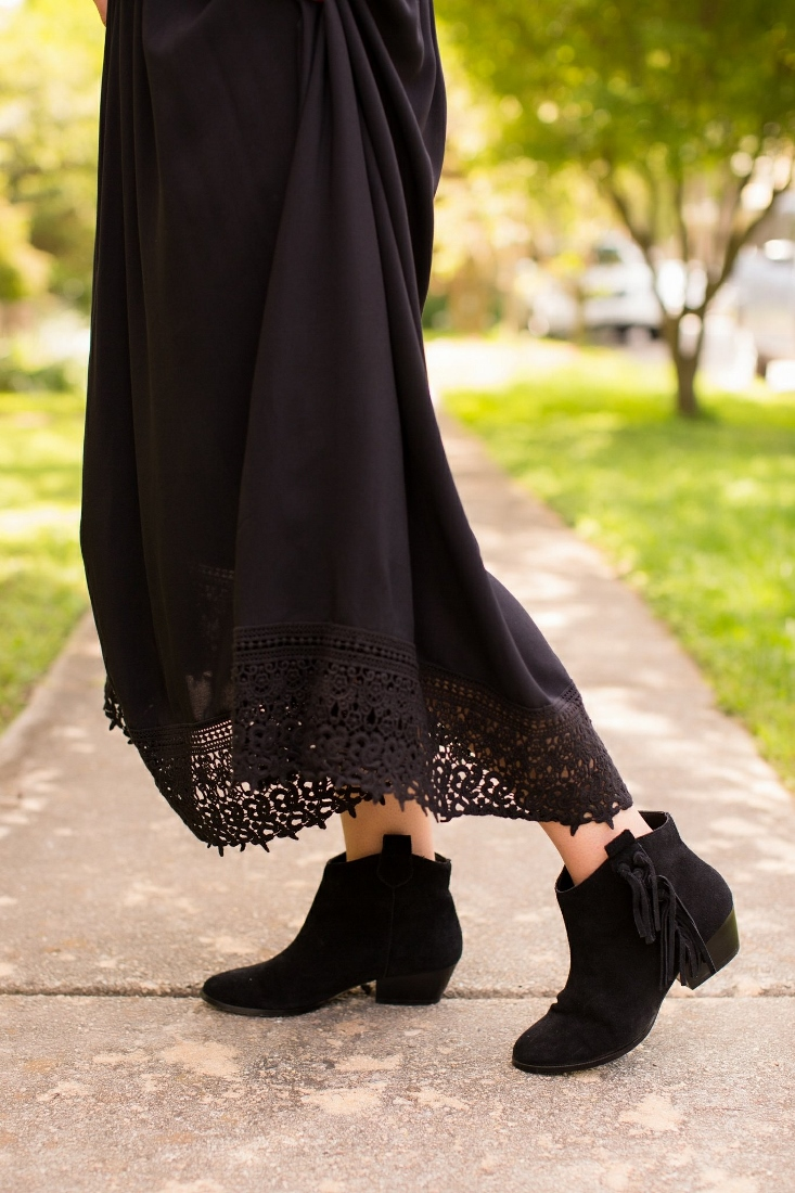 Crochet Trim Gypsy Dress with Fringe Boots