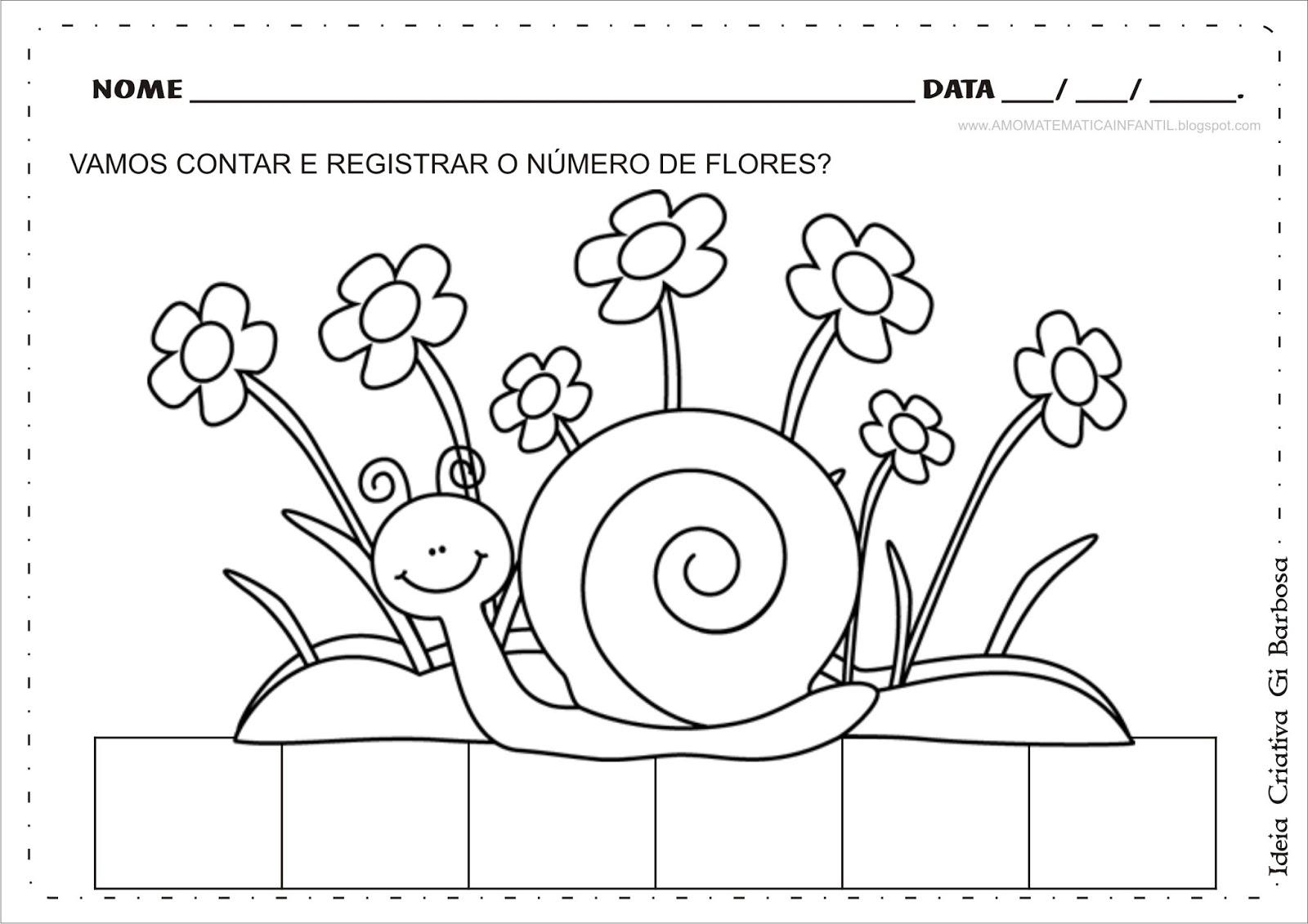 Excepcional Matemática Infantil: Atividade Matemática Animais de Jardim Caracol GN97