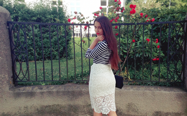 Black and white striped top, Lace midi skirt outfit