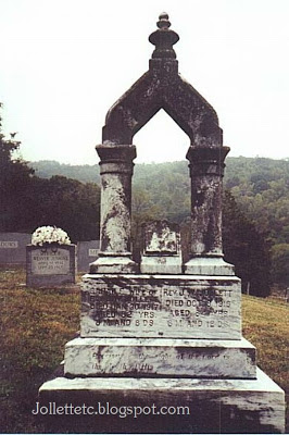 Tombstone of John W. and Sarah Elizabeth Smith Jollett