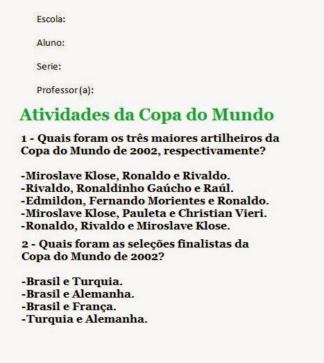 Atividades sobre a Copa do Mundo no Brasil 2014 para imprimir