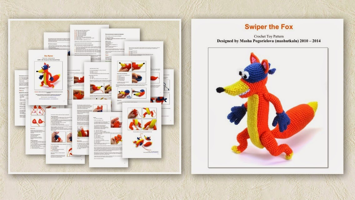 Swiper the Fox crochet toy amugurumi pattern by Masha Pogorielova mashutkalu