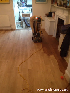 Oak wood floor sanding in progress