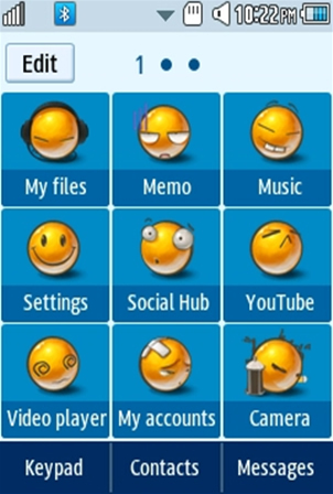 Other Cute, Yellow Smiley Samsung Corby 2 Theme Menu