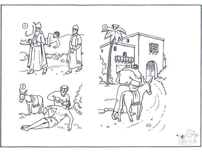 Parábola del Buen samaritano para colorear - Dibujo Views