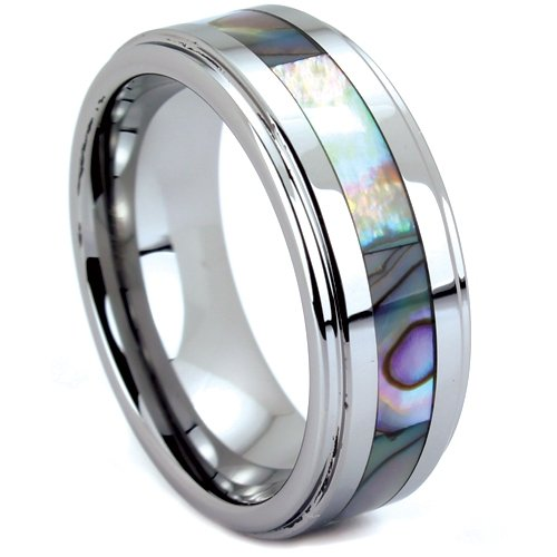 Tungsten Carbide Ring Wedding Band With Abalone Inlay Size  Today