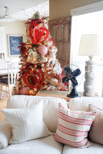 Vintage Valentine Tree with handmade ornaments