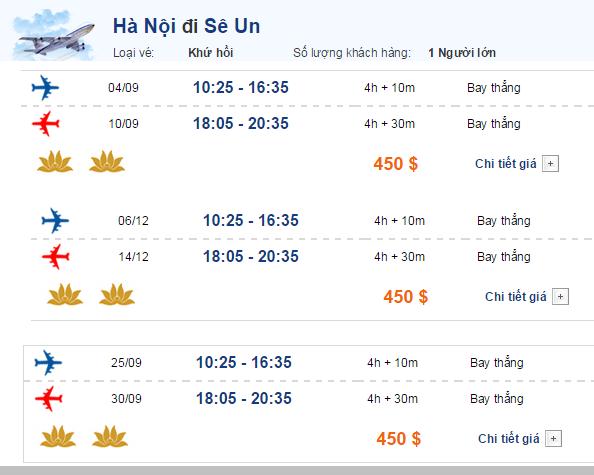Vé máy bay đi Seoul chỉ từ 450 USD của Vietnam Airlines